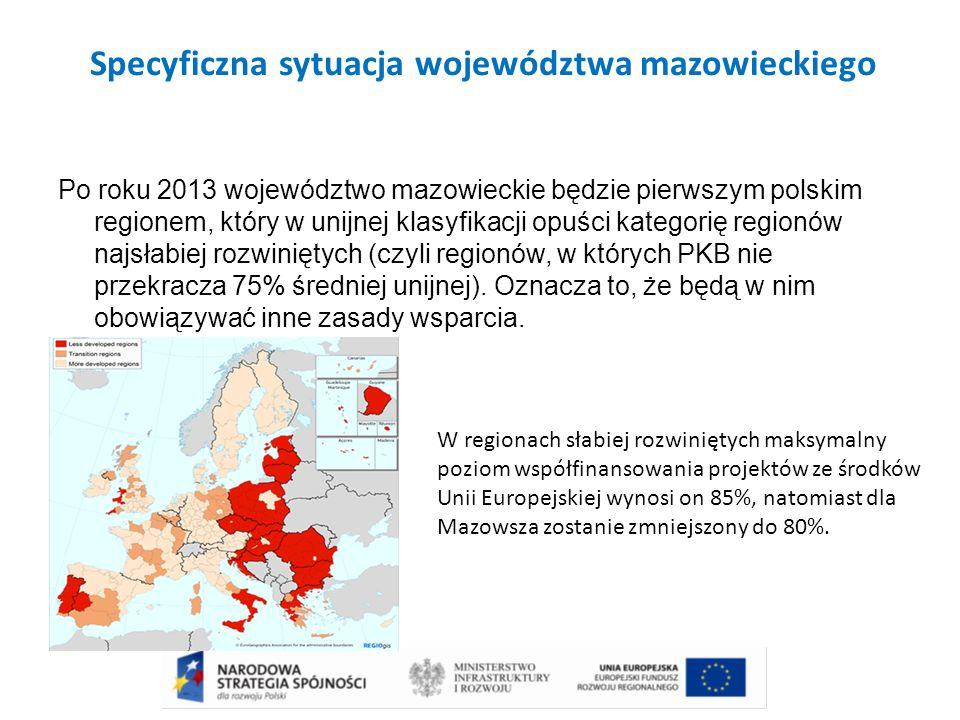 Specyficzna sytuacja województwa mazowieckiego Po roku 2013 województwo mazowieckie będzie pierwszym polskim regionem, który w unijnej klasyfikacji op