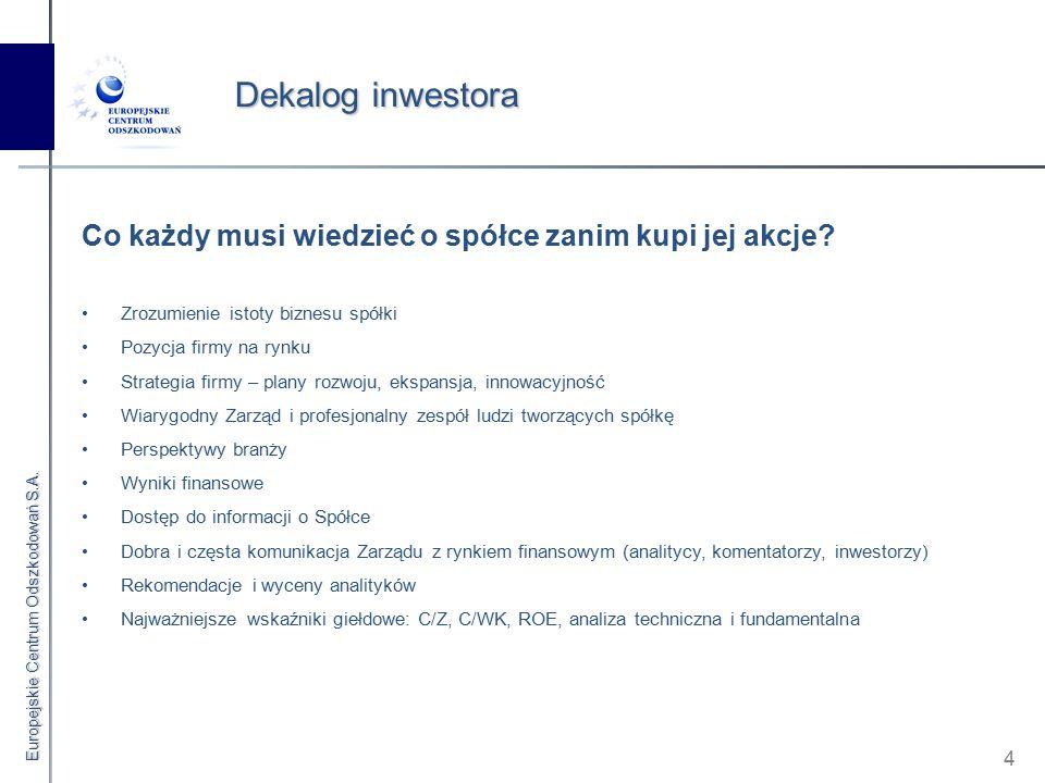 Europejskie Centrum Odszkodowań S.A. 4 Dekalog inwestora Co każdy musi wiedzieć o spółce zanim kupi jej akcje? Zrozumienie istoty biznesu spółki Pozyc