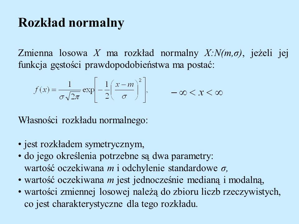 Rozkład normalny Zmienna losowa X ma rozkład normalny X:N(m,σ), jeżeli jej funkcja gęstości prawdopodobieństwa ma postać: Własności rozkładu normalnego: jest rozkładem symetrycznym, do jego określenia potrzebne są dwa parametry: wartość oczekiwana m i odchylenie standardowe σ, wartość oczekiwana m jest jednocześnie medianą i modalną, wartości zmiennej losowej należą do zbioru liczb rzeczywistych, co jest charakterystyczne dla tego rozkładu.
