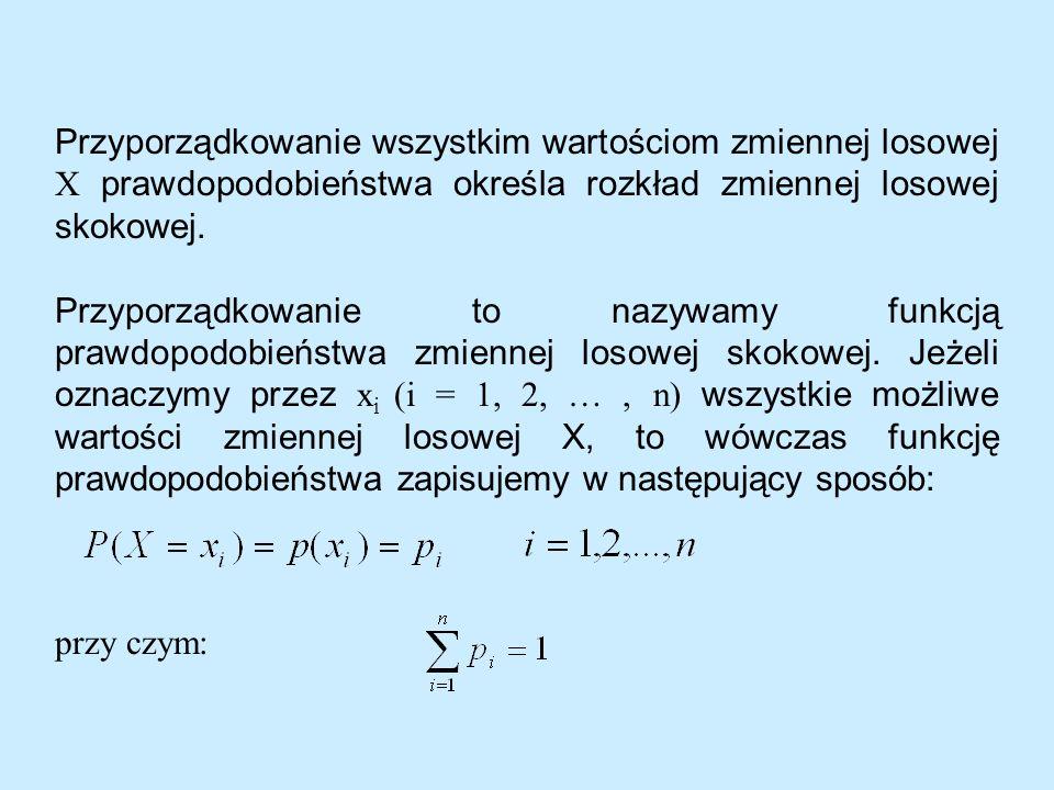 Przyporządkowanie wszystkim wartościom zmiennej losowej X prawdopodobieństwa określa rozkład zmiennej losowej skokowej.