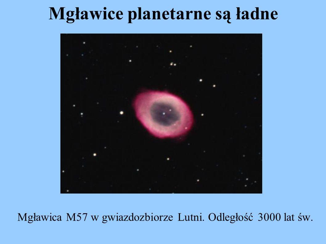 Mgławice planetarne są ładne Mgławica M57 w gwiazdozbiorze Lutni. Odległość 3000 lat św.