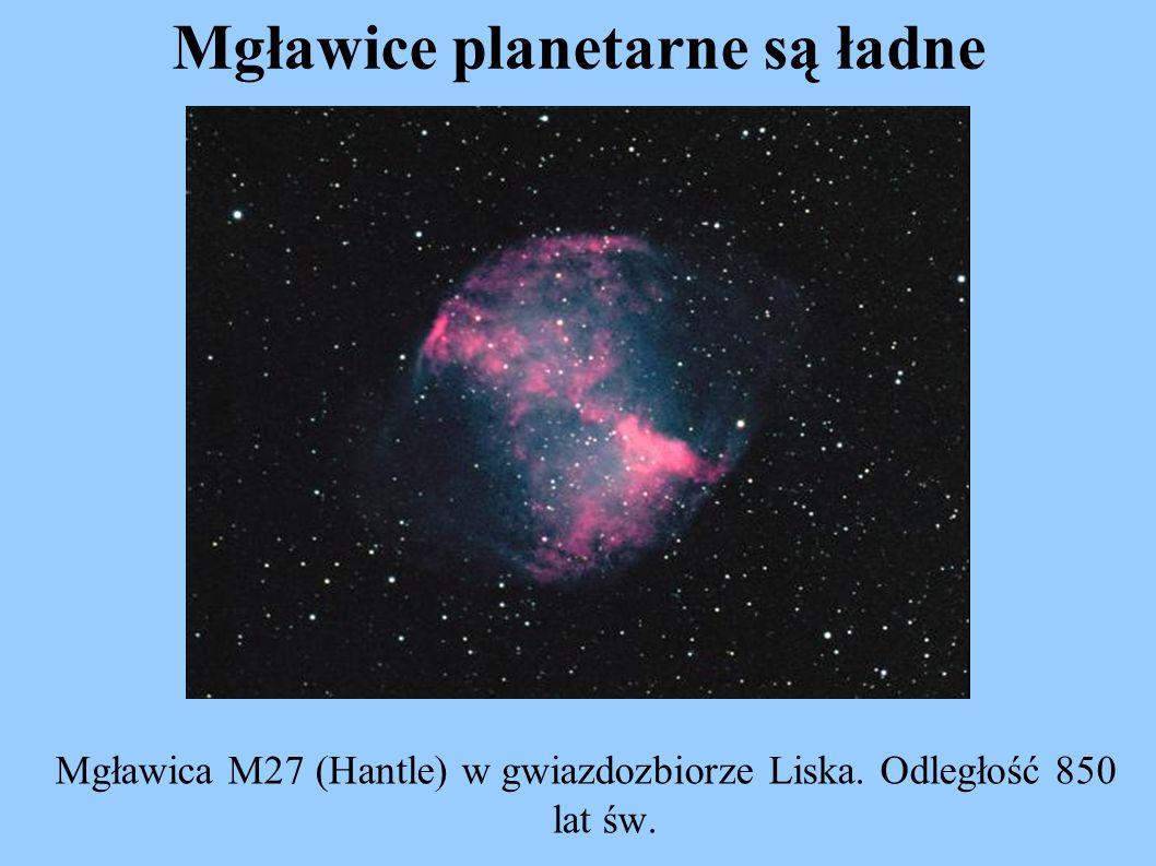 Mgławice planetarne są ładne Mgławica M27 (Hantle) w gwiazdozbiorze Liska. Odległość 850 lat św.