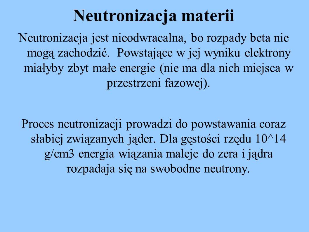Neutronizacja jest nieodwracalna, bo rozpady beta nie mogą zachodzić. Powstające w jej wyniku elektrony miałyby zbyt małe energie (nie ma dla nich mie