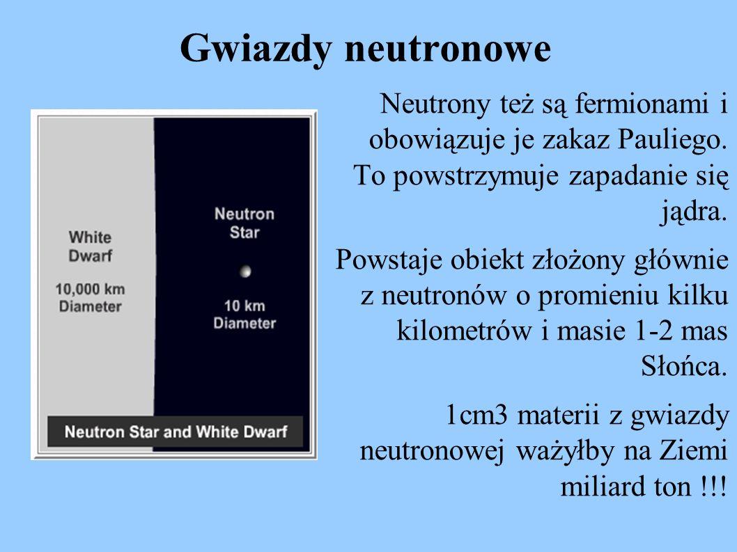 Gwiazdy neutronowe Neutrony też są fermionami i obowiązuje je zakaz Pauliego. To powstrzymuje zapadanie się jądra. Powstaje obiekt złożony głównie z n