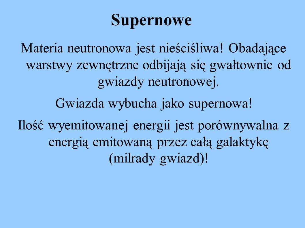 Supernowe Materia neutronowa jest nieściśliwa! Obadające warstwy zewnętrzne odbijają się gwałtownie od gwiazdy neutronowej. Gwiazda wybucha jako super