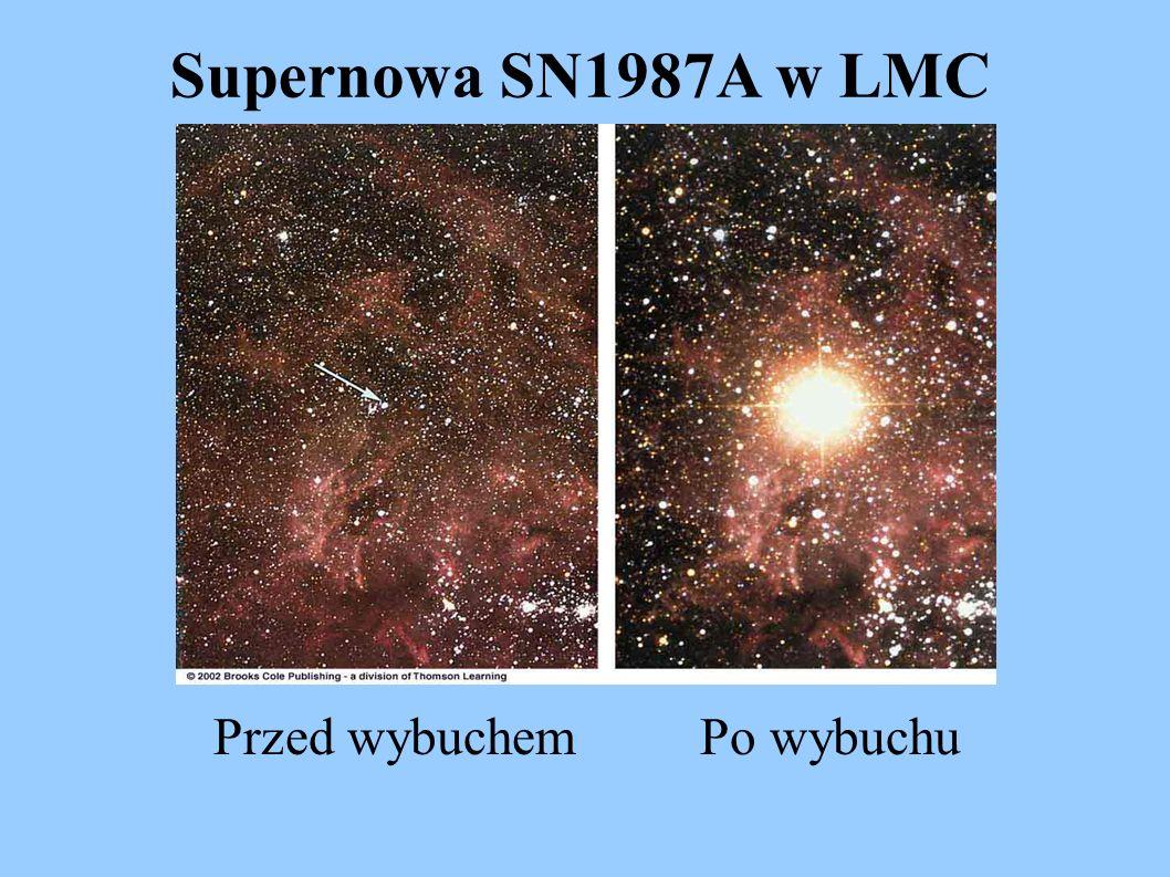 Supernowa SN1987A w LMC Przed wybuchem Po wybuchu
