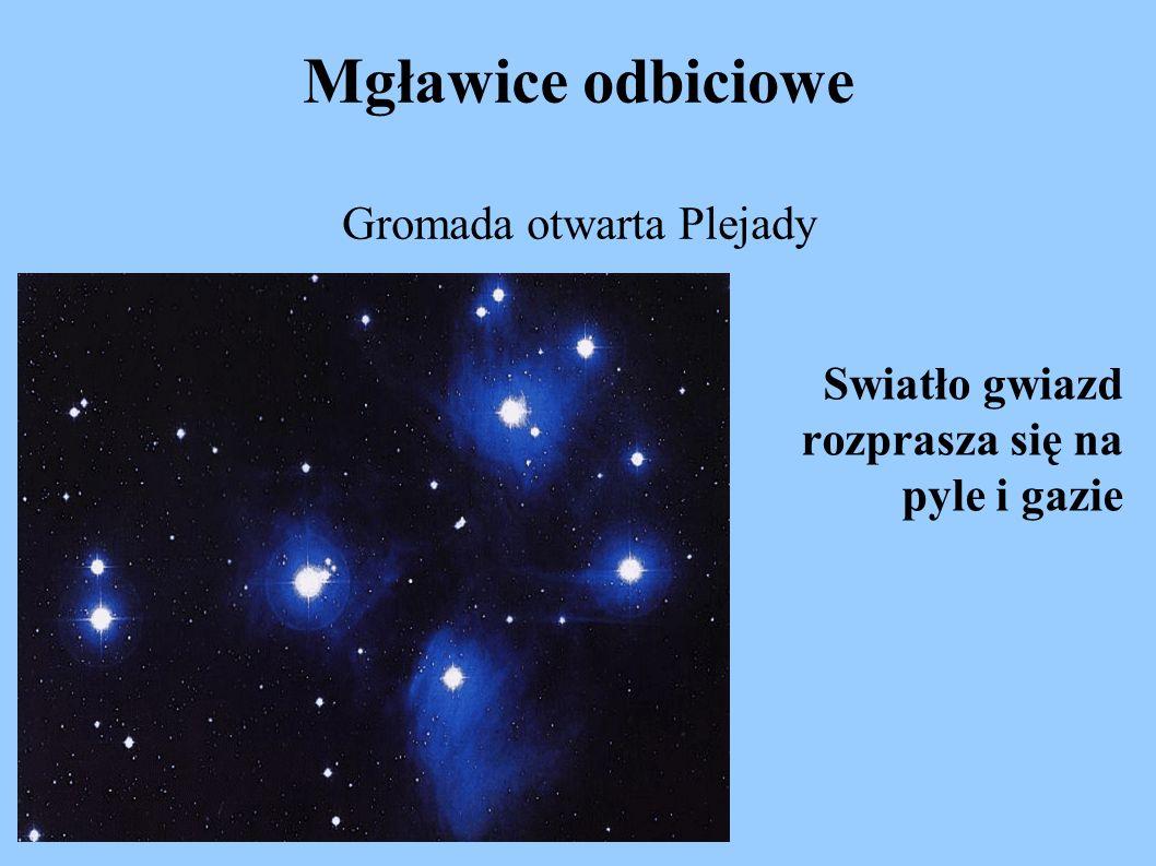 Mgławice odbiciowe Gromada otwarta Plejady Swiatło gwiazd rozprasza się na pyle i gazie