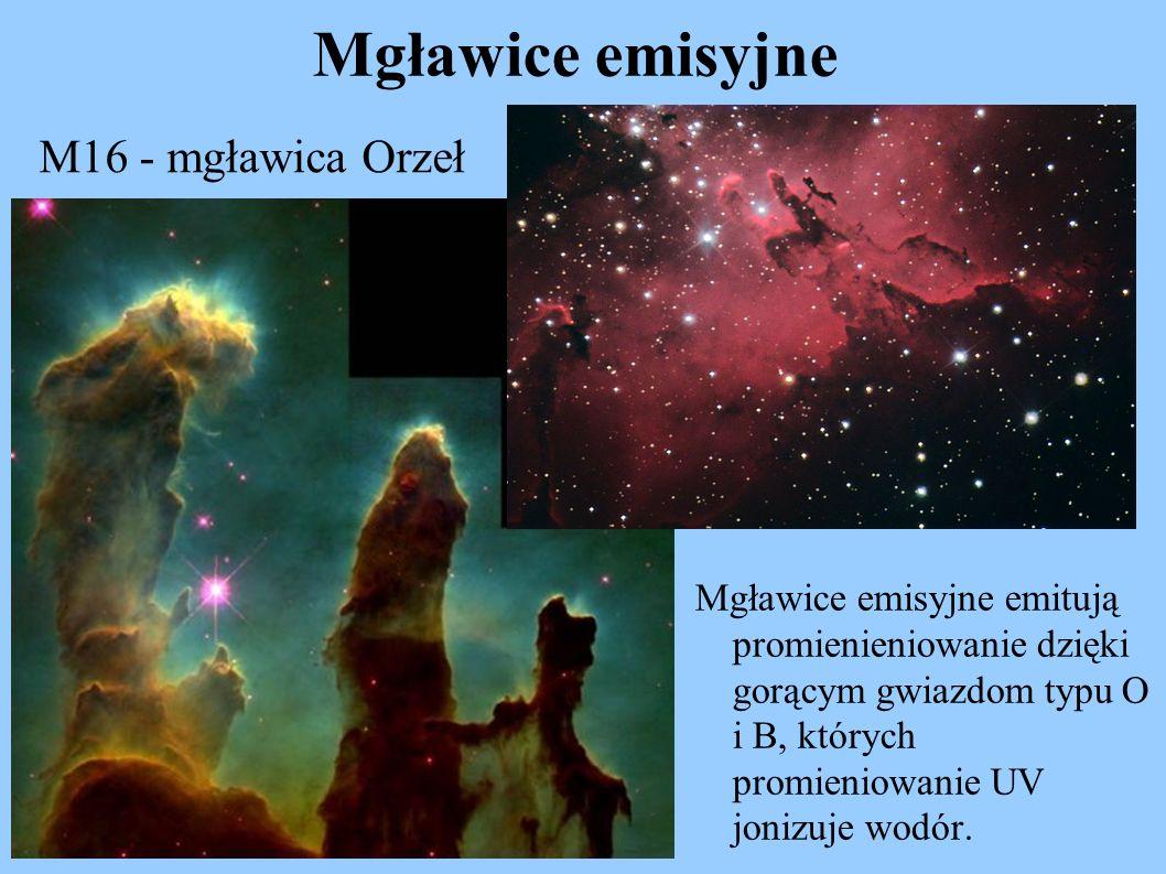 Mgławice emisyjne Mgławice emisyjne emitują promienieniowanie dzięki gorącym gwiazdom typu O i B, których promieniowanie UV jonizuje wodór. M16 - mgła