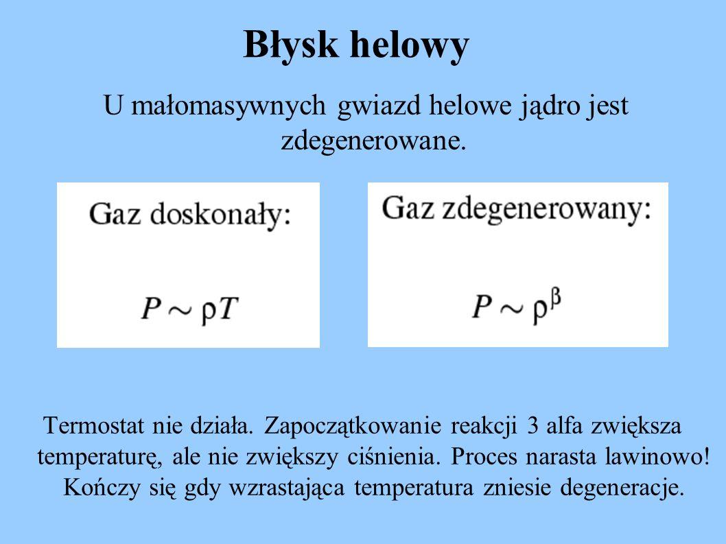 Błysk helowy U małomasywnych gwiazd helowe jądro jest zdegenerowane. Termostat nie działa. Zapoczątkowanie reakcji 3 alfa zwiększa temperaturę, ale ni