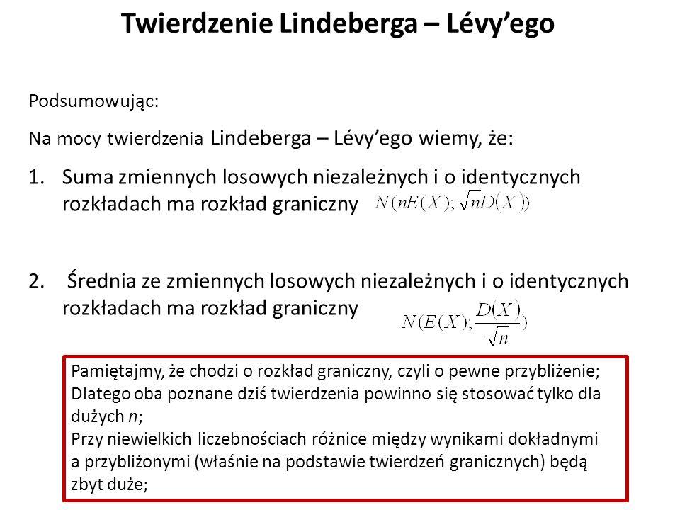 Twierdzenie Lindeberga – Lévy'ego Podsumowując: Na mocy twierdzenia Lindeberga – Lévy'ego wiemy, że: 1.Suma zmiennych losowych niezależnych i o identycznych rozkładach ma rozkład graniczny 2.