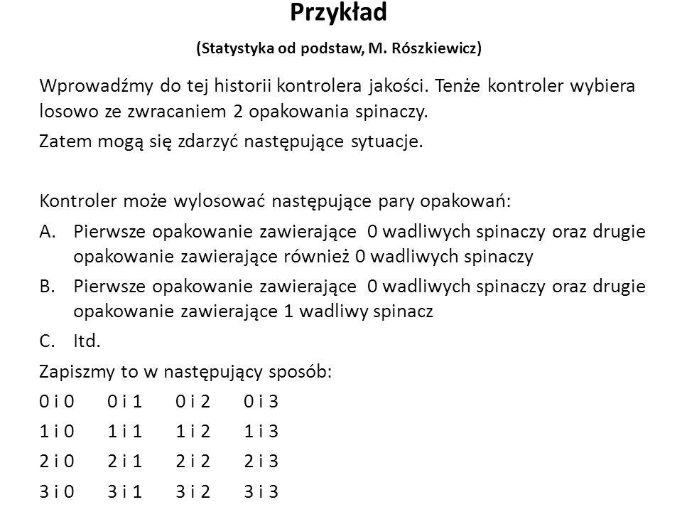 Przykład (Statystyka od podstaw, M. Rószkiewicz) Wprowadźmy do tej historii kontrolera jakości.