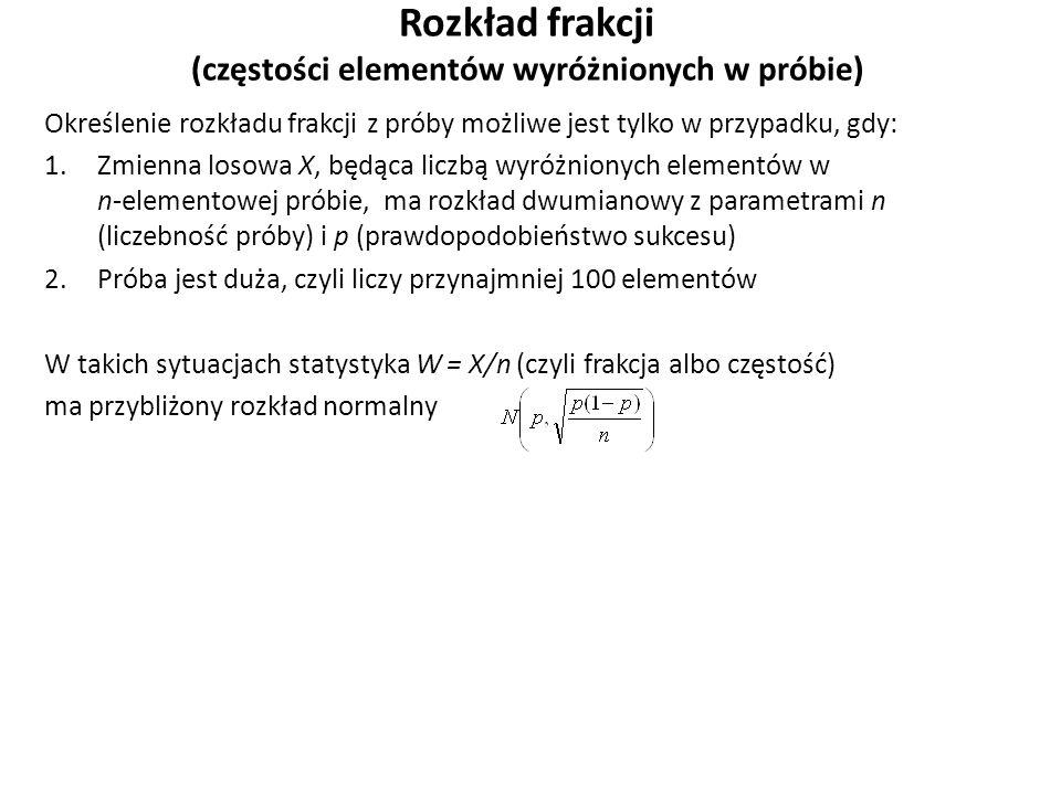 Rozkład frakcji (częstości elementów wyróżnionych w próbie) Określenie rozkładu frakcji z próby możliwe jest tylko w przypadku, gdy: 1.Zmienna losowa X, będąca liczbą wyróżnionych elementów w n-elementowej próbie, ma rozkład dwumianowy z parametrami n (liczebność próby) i p (prawdopodobieństwo sukcesu) 2.Próba jest duża, czyli liczy przynajmniej 100 elementów W takich sytuacjach statystyka W = X/n (czyli frakcja albo częstość) ma przybliżony rozkład normalny