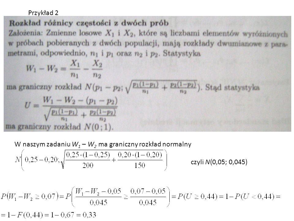 W naszym zadaniu W 1 – W 2 ma graniczny rozkład normalny czyli N(0,05; 0,045)
