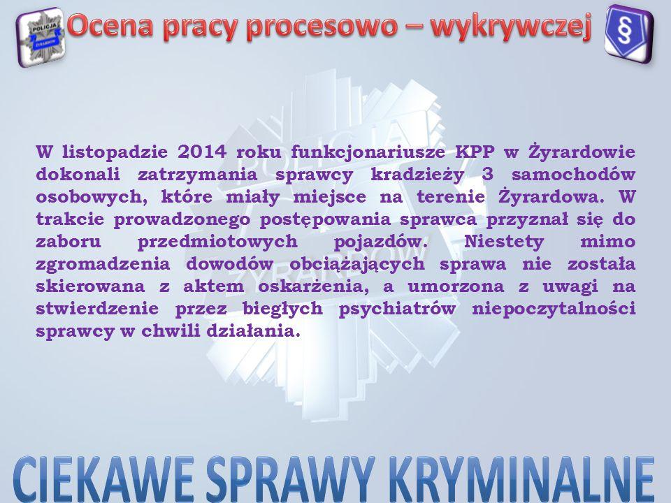 W listopadzie 2014 roku funkcjonariusze KPP w Żyrardowie dokonali zatrzymania sprawcy kradzieży 3 samochodów osobowych, które miały miejsce na terenie