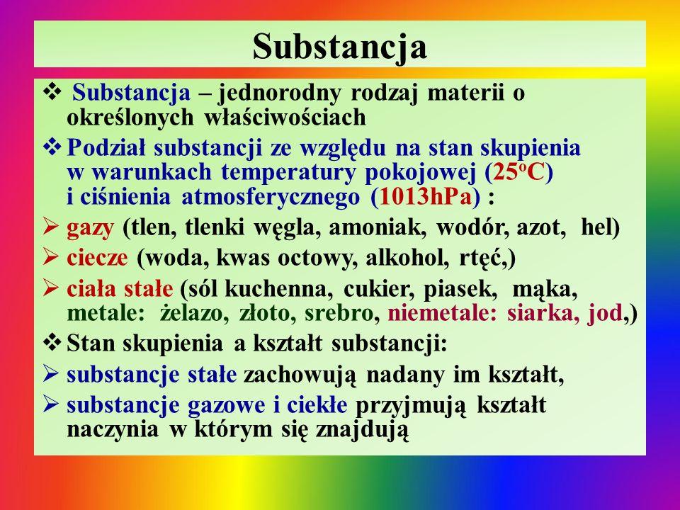 Substancja  Substancja – jednorodny rodzaj materii o określonych właściwościach  Podział substancji ze względu na stan skupienia w warunkach tempera
