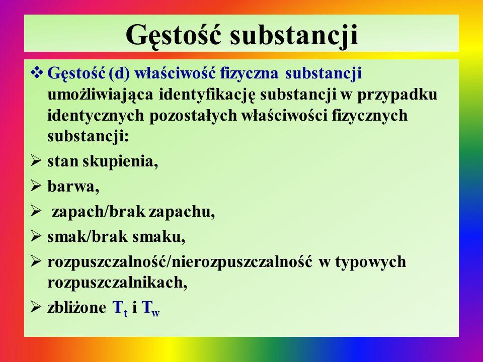 Gęstość substancji  Gęstość (d) właściwość fizyczna substancji umożliwiająca identyfikację substancji w przypadku identycznych pozostałych właściwości fizycznych substancji:  stan skupienia,  barwa,  zapach/brak zapachu,  smak/brak smaku,  rozpuszczalność/nierozpuszczalność w typowych rozpuszczalnikach,  zbliżone T t i T w