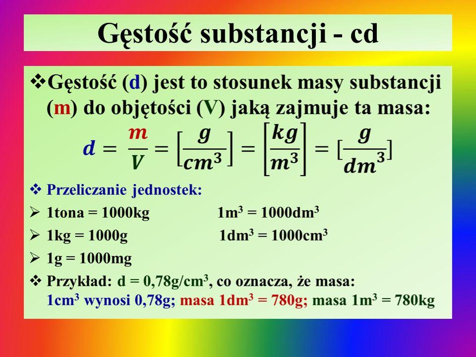 Gęstość substancji Ciała stałeCieczeGazy Gęstość związana jest z różnymi odległościami wynikającymi z oddziaływań między drobinami substancji  Z reguły mają największą gęstość (liczne wyjątki: lit, sód, parafina)  Z reguły mają mniejszą gęstość niż ciała stałe ale większą niż gazy (wyjątki np.