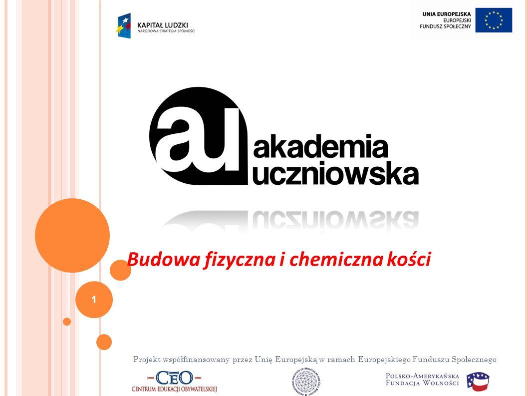 Projekt współfinansowany przez Unię Europejską w ramach Europejskiego Funduszu Społecznego 1 Budowa fizyczna i chemiczna kości