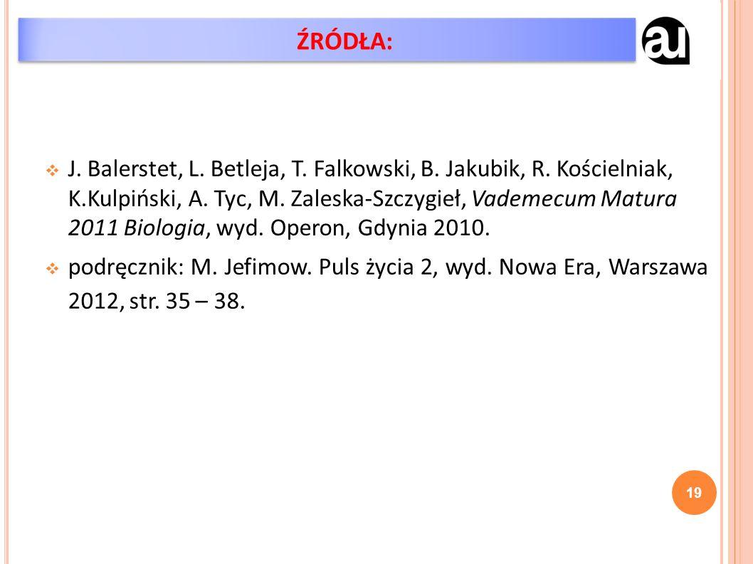  J. Balerstet, L. Betleja, T. Falkowski, B. Jakubik, R. Kościelniak, K.Kulpiński, A. Tyc, M. Zaleska-Szczygieł, Vademecum Matura 2011 Biologia, wyd.