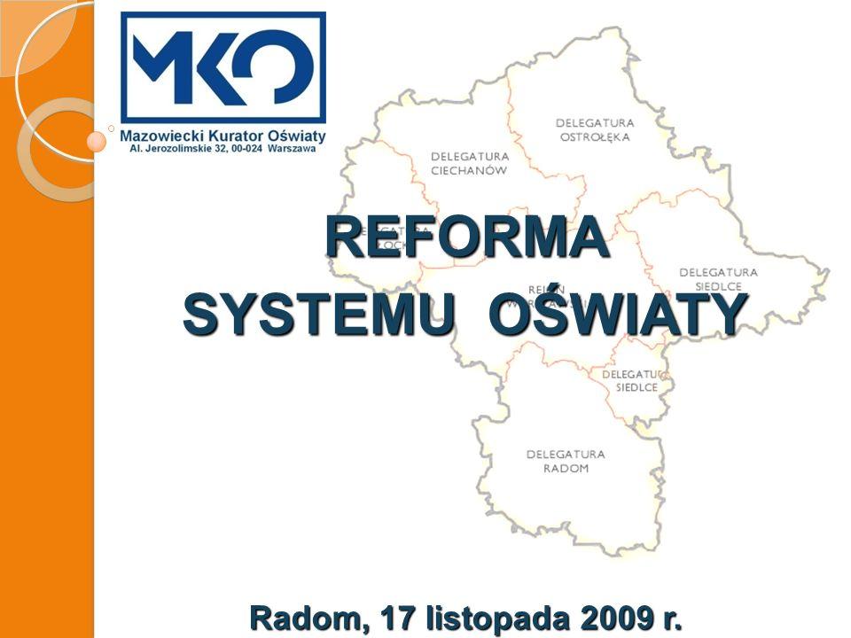 REFORMA SYSTEMU OŚWIATY Radom, 17 listopada 2009 r.