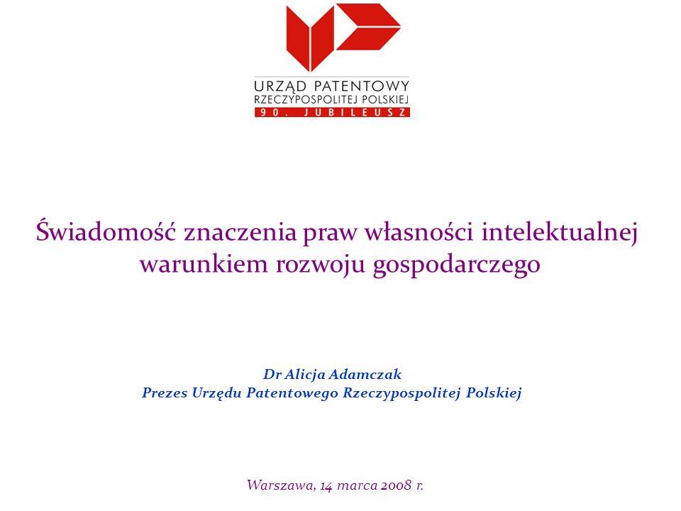 Dr Alicja Adamczak Prezes Urzędu Patentowego Rzeczypospolitej Polskiej Świadomość znaczenia praw własności intelektualnej warunkiem rozwoju gospodarczego Warszawa, 14 marca 2008 r.