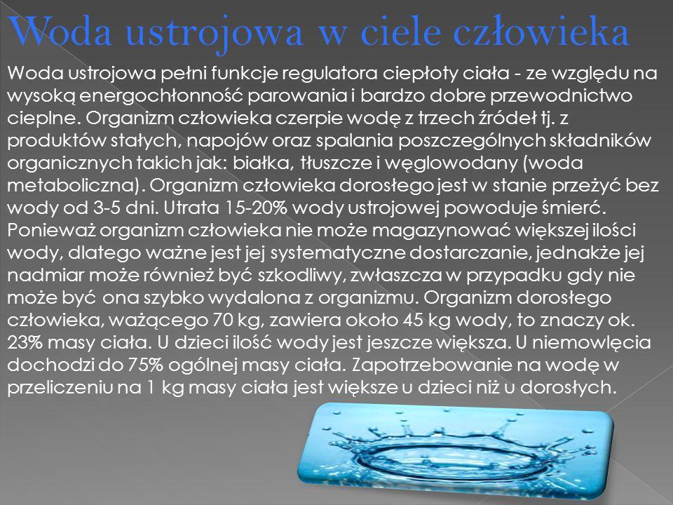 Woda ustrojowa pełni funkcje regulatora ciepłoty ciała - ze względu na wysoką energochłonność parowania i bardzo dobre przewodnictwo cieplne.