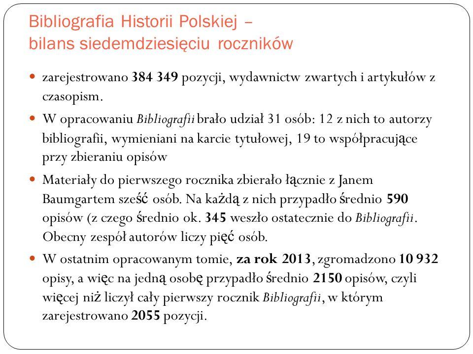 Bibliografia Historii Polskiej – bilans siedemdziesięciu roczników zarejestrowano 384 349 pozycji, wydawnictw zwartych i artykułów z czasopism.