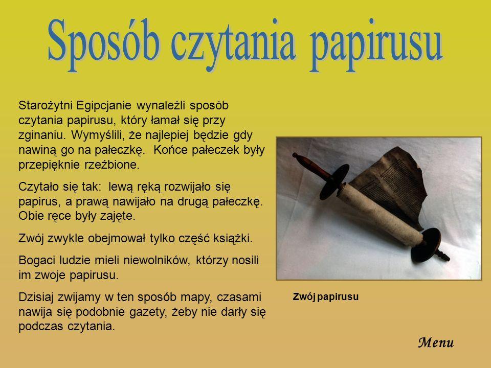 Na papirusie pisano atramentem.Sporządzano go mieszając sadzę i wodę.