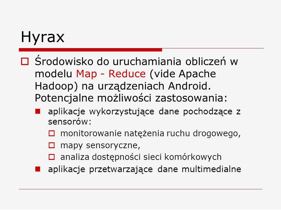 Hyrax  Środowisko do uruchamiania obliczeń w modelu Map - Reduce (vide Apache Hadoop) na urządzeniach Android.
