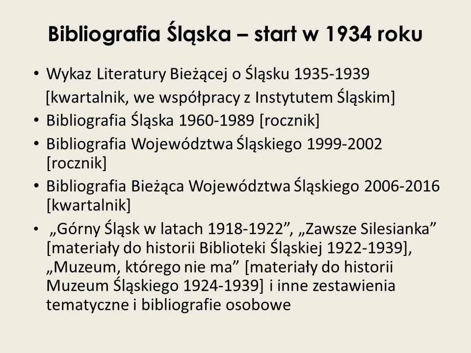 Bibliografia Śląska – start w 1934 roku Wykaz Literatury Bieżącej o Śląsku 1935-1939 [kwartalnik, we współpracy z Instytutem Śląskim] Bibliografia Ślą
