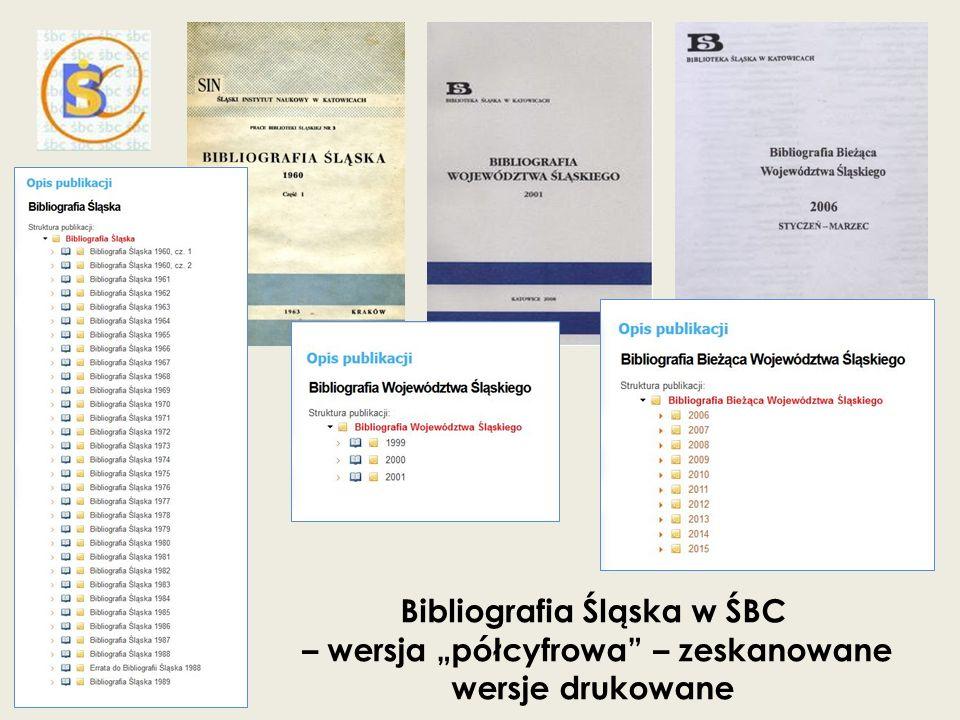 """Bibliografia Śląska w ŚBC – wersja """"półcyfrowa"""" – zeskanowane wersje drukowane"""