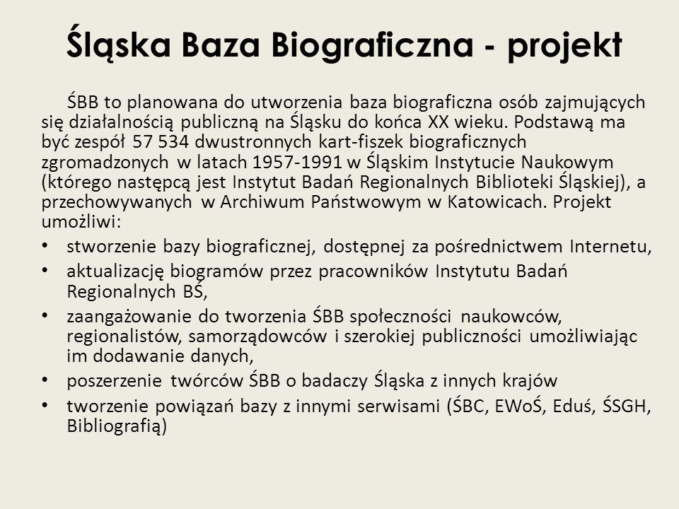 Śląska Baza Biograficzna - projekt ŚBB to planowana do utworzenia baza biograficzna osób zajmujących się działalnością publiczną na Śląsku do końca XX