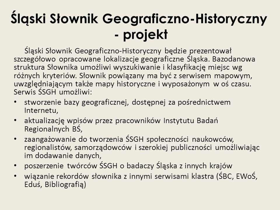 Śląski Słownik Geograficzno-Historyczny - projekt Śląski Słownik Geograficzno-Historyczny będzie prezentował szczegółowo opracowane lokalizacje geogra