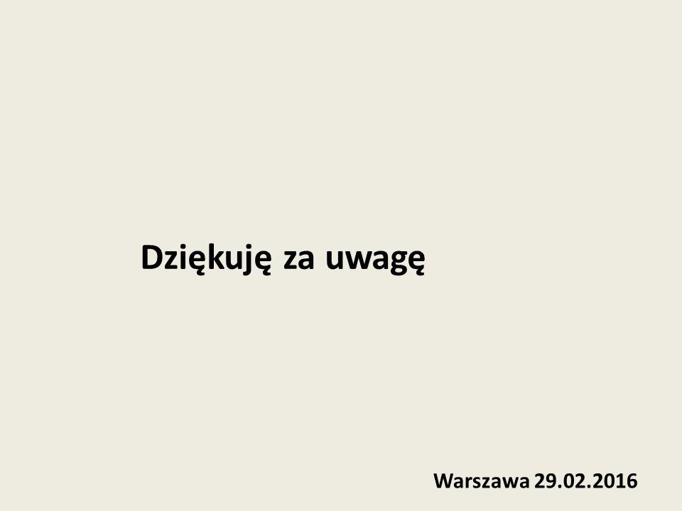 Dziękuję za uwagę Warszawa 29.02.2016