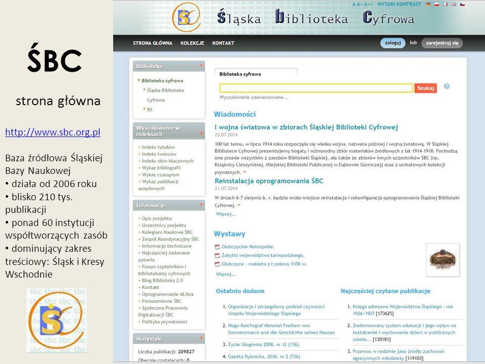 ŚBC strona główna http://www.sbc.org.pl Baza źródłowa Śląskiej Bazy Naukowej działa od 2006 roku blisko 210 tys. publikacji ponad 60 instytucji współt