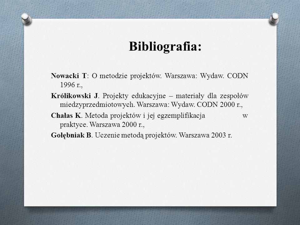 Bibliografia: Nowacki T: O metodzie projektów. Warszawa: Wydaw.