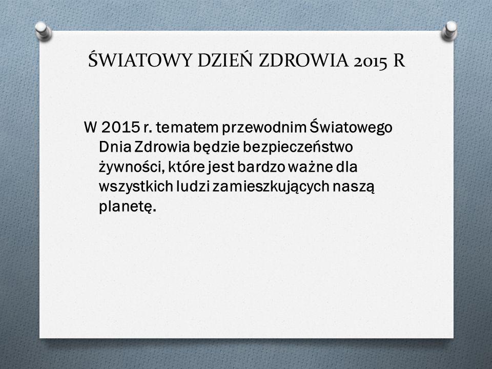 ŚWIATOWY DZIEŃ ZDROWIA 2015 R W 2015 r.