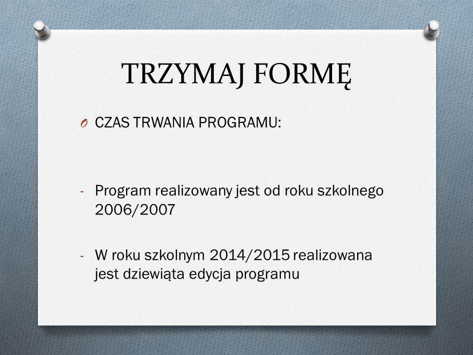 TRZYMAJ FORMĘ O CZAS TRWANIA PROGRAMU: - Program realizowany jest od roku szkolnego 2006/2007 - W roku szkolnym 2014/2015 realizowana jest dziewiąta edycja programu