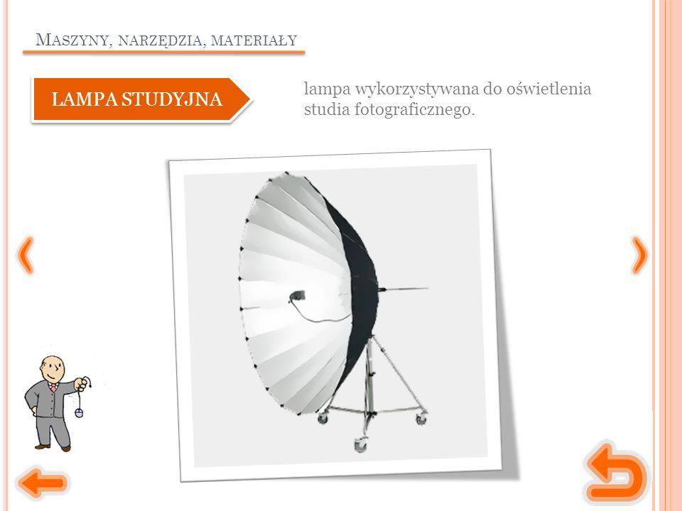 M ASZYNY, NARZĘDZIA, MATERIAŁY lampa wykorzystywana do oświetlenia studia fotograficznego.