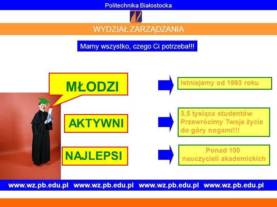 www.wz.pb.edu.pl www.wz.pb.edu.pl MŁODZI AKTYWNI NAJLEPSI Istniejemy od 1993 roku 3,5 tysiąca studentów Przewrócimy Twoje życie do góry nogami!!! Pona
