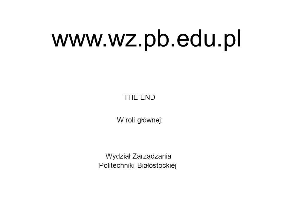 THE END W roli głównej: Wydział Zarządzania Politechniki Białostockiej www.wz.pb.edu.pl