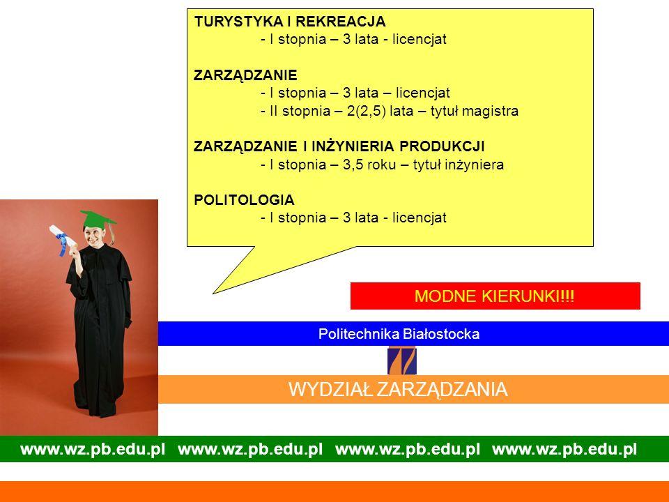 www.wz.pb.edu.pl www.wz.pb.edu.pl Politechnika Białostocka WYDZIAŁ ZARZĄDZANIA MODNE KIERUNKI!!! TURYSTYKA I REKREACJA - I stopnia – 3 lata - licencja