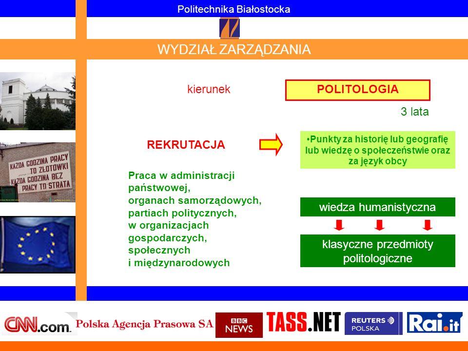 POLITOLOGIA Politechnika Białostocka WYDZIAŁ ZARZĄDZANIA wiedza humanistyczna klasyczne przedmioty politologiczne kierunek 3 lata Praca w administracj