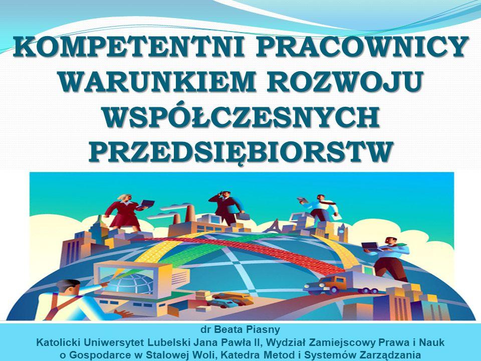 System zarządzania kompetencjami w ujęciu czynnościowym Określenie portfeli kompetencji potrzebnych (w firmie, na stanowisku) Ustalenie kompetencji realnie posiadanych (na stanowiskach, w firmie) Określenie kompetencji brakujących dr Beata Piasny