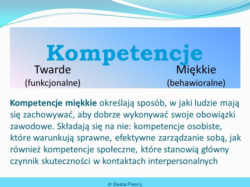 Kompetencje miękkie określają sposób, w jaki ludzie mają się zachowywać, aby dobrze wykonywać swoje obowiązki zawodowe.