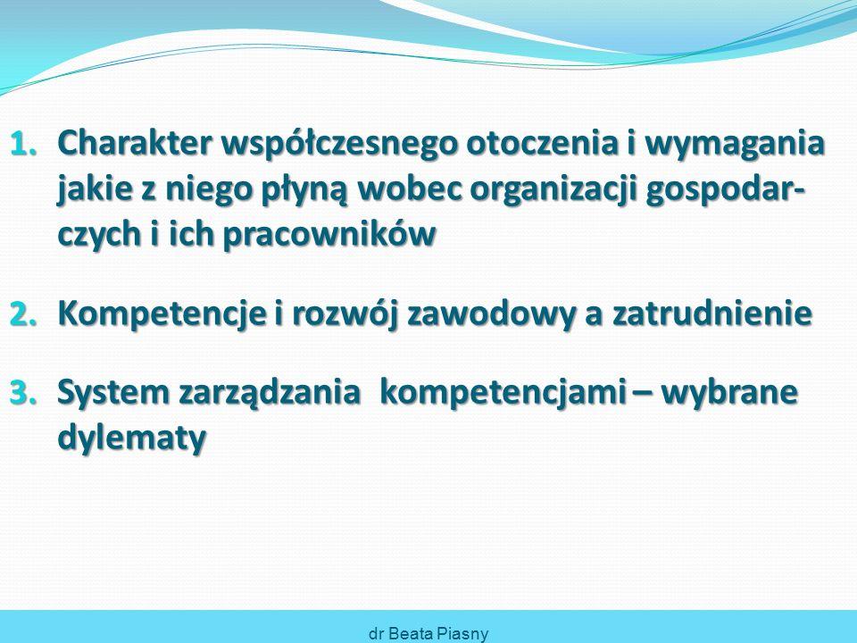 1. Charakter współczesnego otoczenia i wymagania jakie z niego płyną wobec organizacji gospodar- czych i ich pracowników 2. Kompetencje i rozwój zawod
