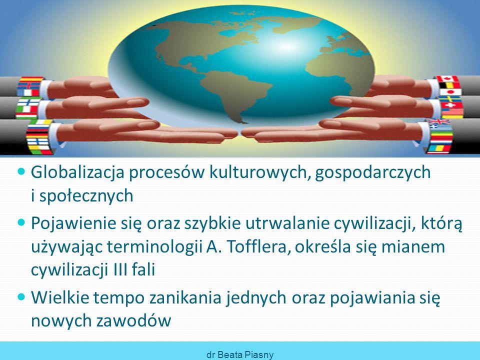 Globalizacja procesów kulturowych, gospodarczych i społecznych Pojawienie się oraz szybkie utrwalanie cywilizacji, którą używając terminologii A.