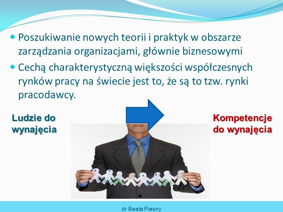 Bez wysoko wykwalifikowanych, kompetentnych pracowni- ków nie ma mowy o powodzeniu w osiąganiu celów w warunkach ciągłych zmian Aby organizacja była dynamiczna, elastyczna i konkurencyj- cyjna to dynamiczne, elastyczne i konkurencyjne muszą być również jej zasoby ludzkie dr Beata Piasny Kompetencje i rozwój zawodowy a zatrudnienie