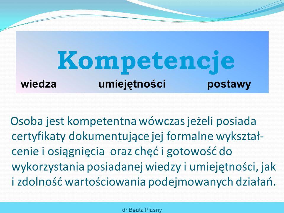 dr Beata Piasny Kompetencje Kompetencje Miękkie (behawioralne) Twarde (funkcjonalne) Kompetencje twarde odnoszą się do posiadania specja- listycznej wiedzy i umiejętności stosowania określonych metod, technik, narzędzi, procesów i procedur, które są niezbędne do pełnienia różnych ról zawodowych lub precy- zyjnego wykonywania obowiązków na danym stanowisku pracy