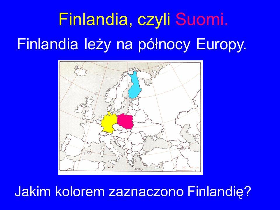 Finlandia, czyli Suomi. Finlandia leży na północy Europy. Jakim kolorem zaznaczono Finlandię?